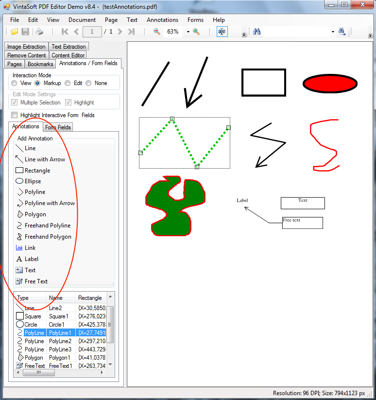 Annotate PDF document in VintaSoft PDF Editor Demo