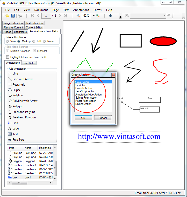 Assign click action for PDF Link-annotation in VintaSoft PDF Editor Demo