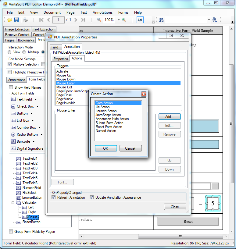 Change action for PDF interactive field trigger in VintaSoft PDF Editor Demo