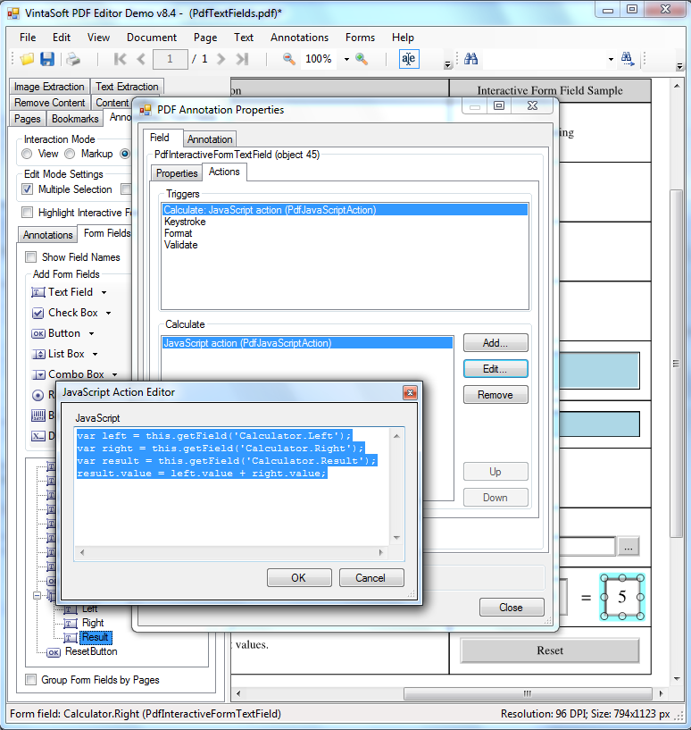 Change JavaScript action for PDF interactive field trigger in VintaSoft PDF Editor Demo