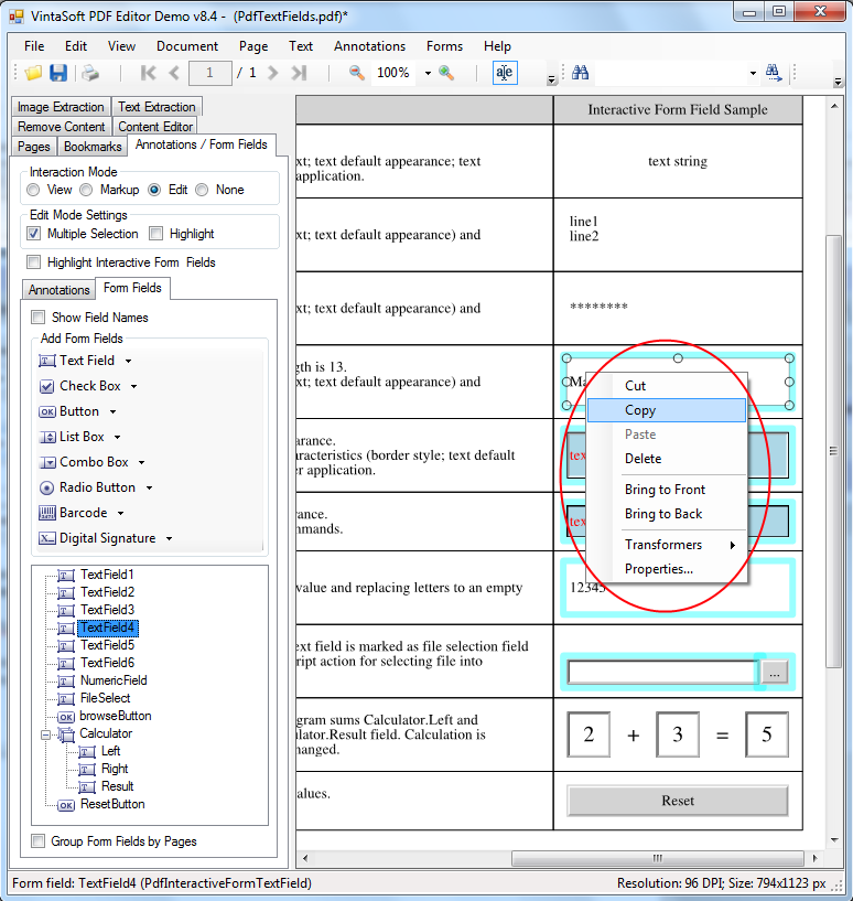 Create, copy or delete PDF interactive fields in VintaSoft PDF Editor Demo