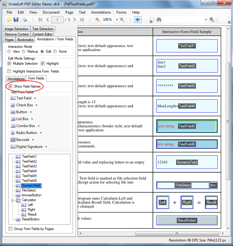 Display field name over PDF interactive field in VintaSoft PDF Editor Demo