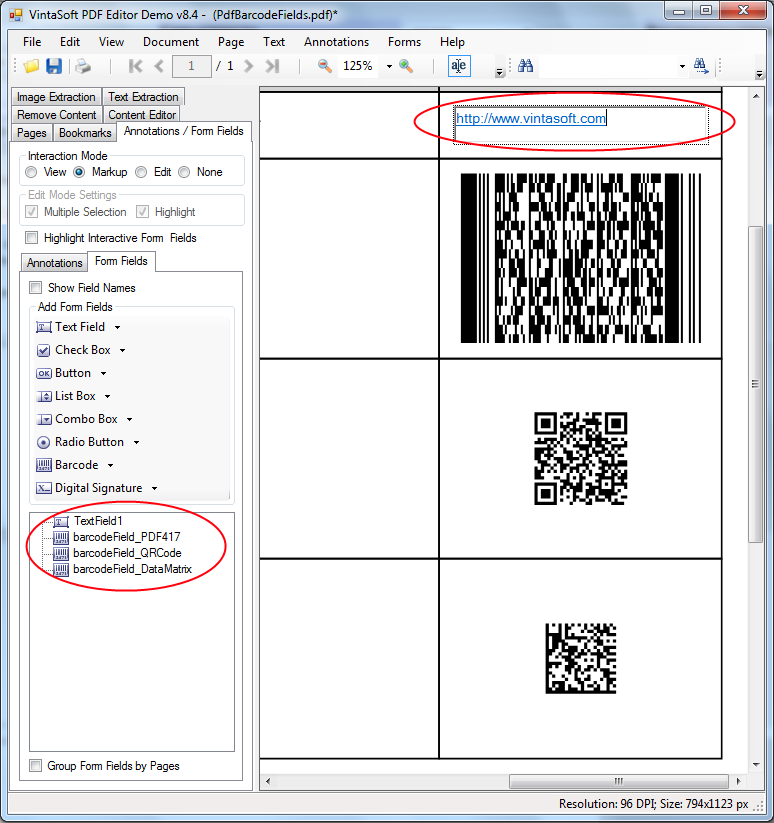 Dynamically calculate value of PDF interactive barcode field in VintaSoft PDF Editor Demo