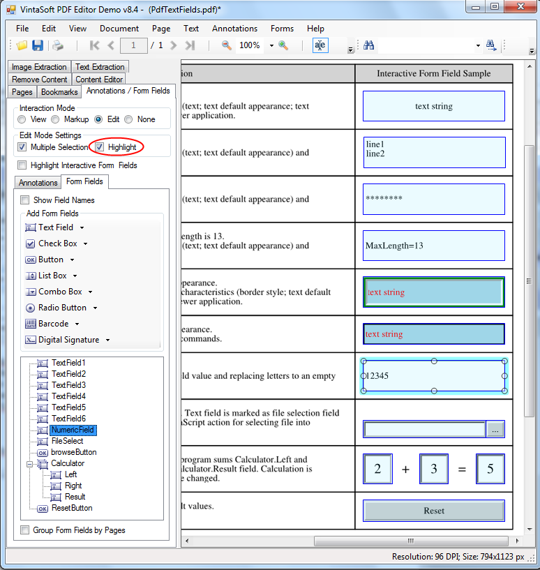 Highlight PDF interactive fields in Edit mode in VintaSoft PDF Editor Demo