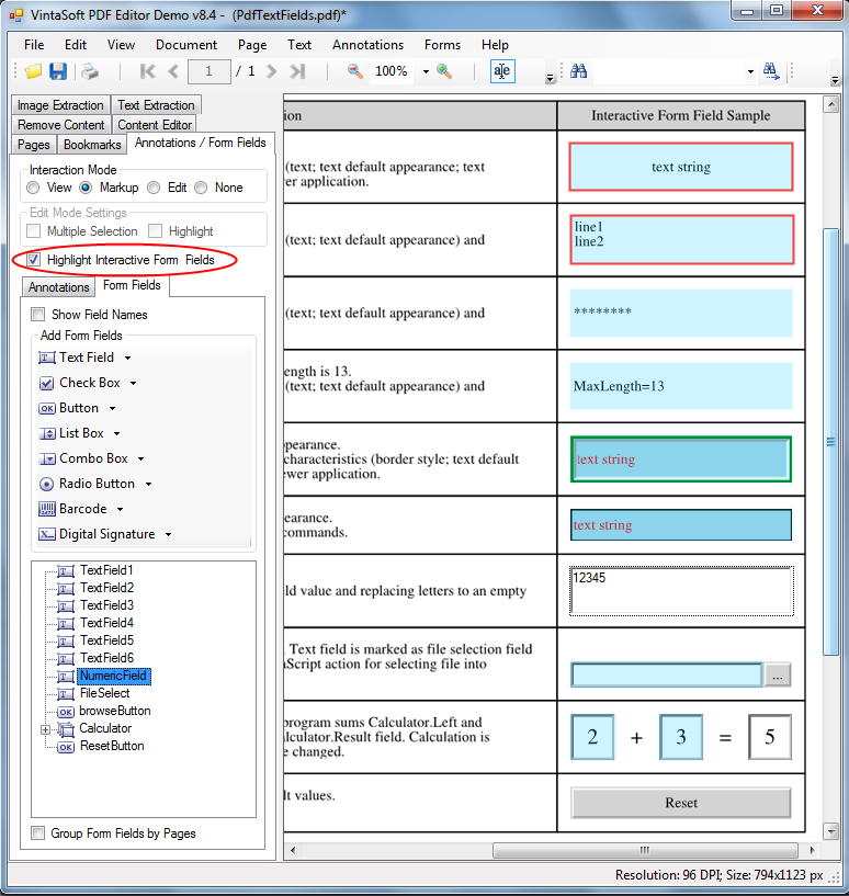 Highlight PDF interactive fields in VintaSoft PDF Editor Demo