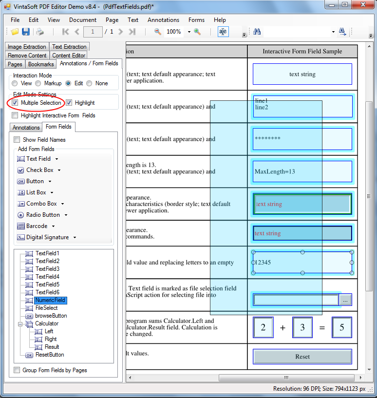 Move, copy or delete multiple PDF annotations in VintaSoft PDF Editor Demo