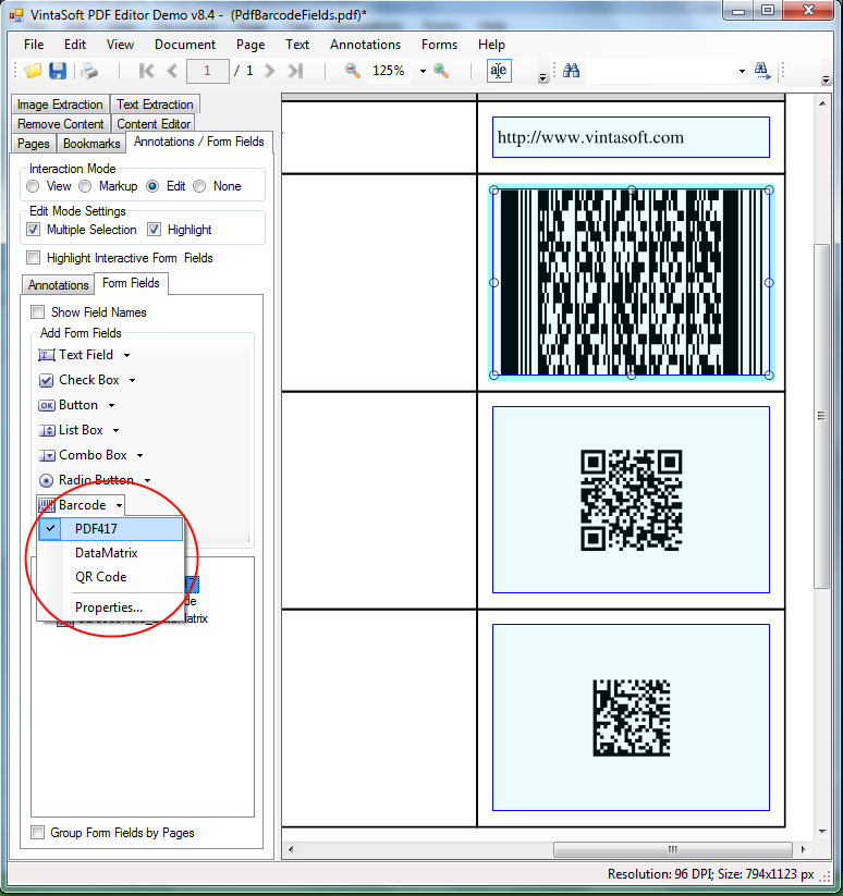 Use PDF interactive field with QR Code, DataMatrix, PDF417 barcode in VintaSoft PDF Editor Demo