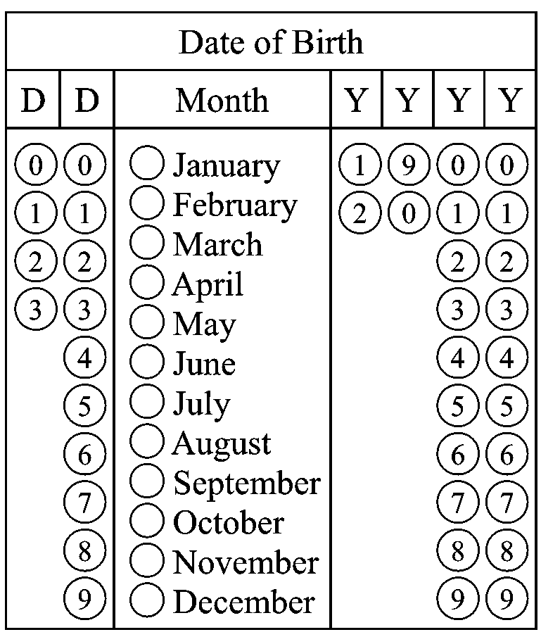 Image of OMR form template for filling date of birth