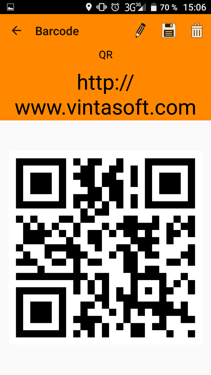 VintaSoft Barcode Generator application for Android has been