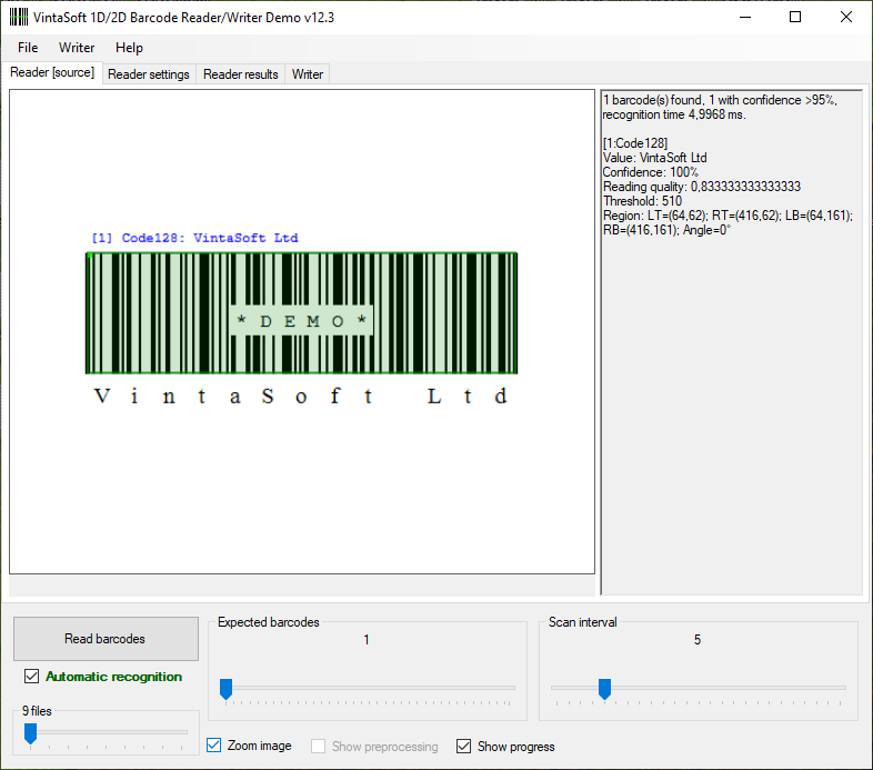 VintaSoft Barcode  NET SDK | Barcode Reader and Barcode Generator