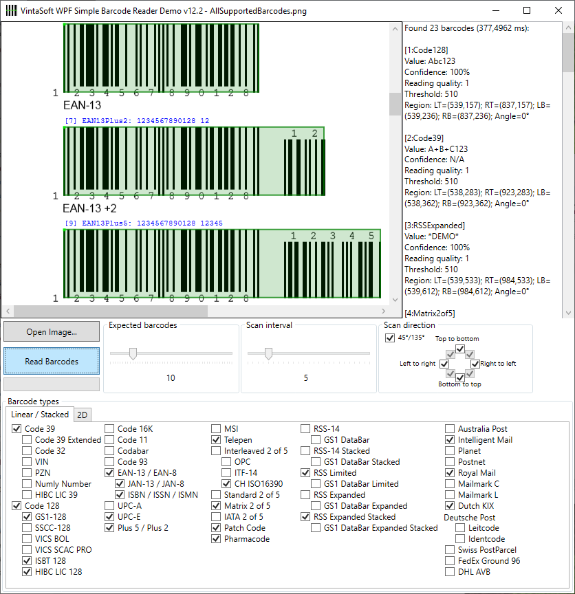 VintaSoft Barcode  NET SDK | Barcode Reader and Barcode