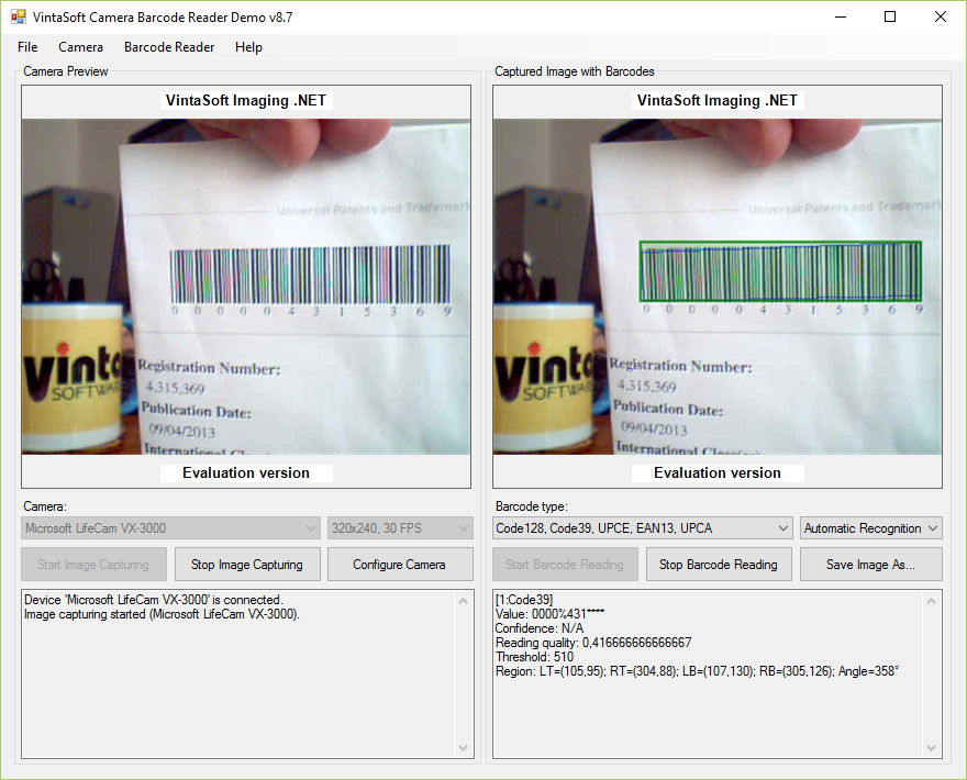 Webcam Barcode Reader Demo