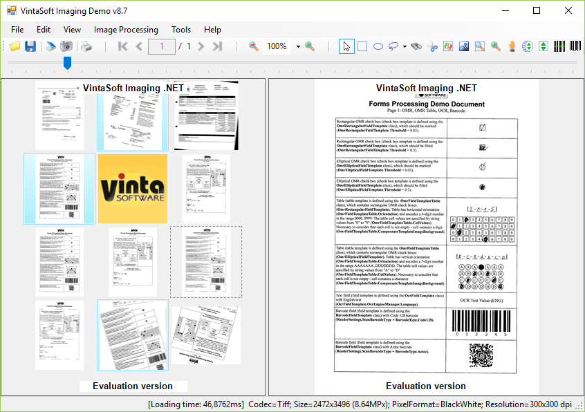 VintaSoftImaging.NET Library full screenshot