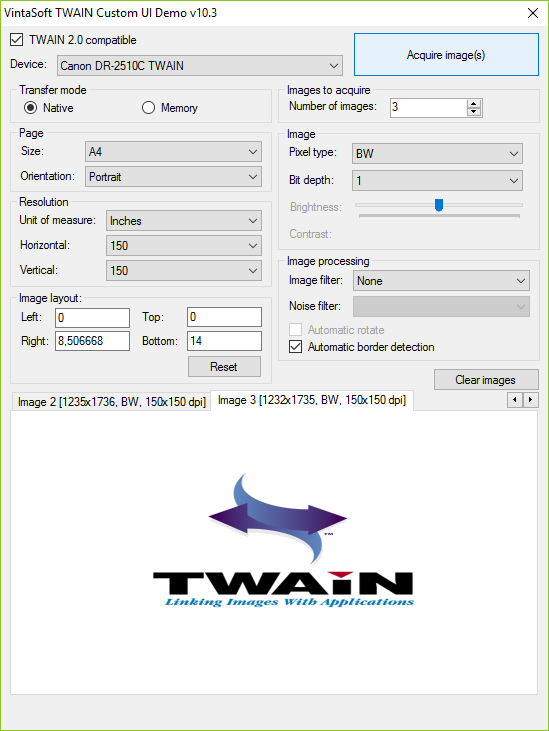 TWAIN Custom UI Demo