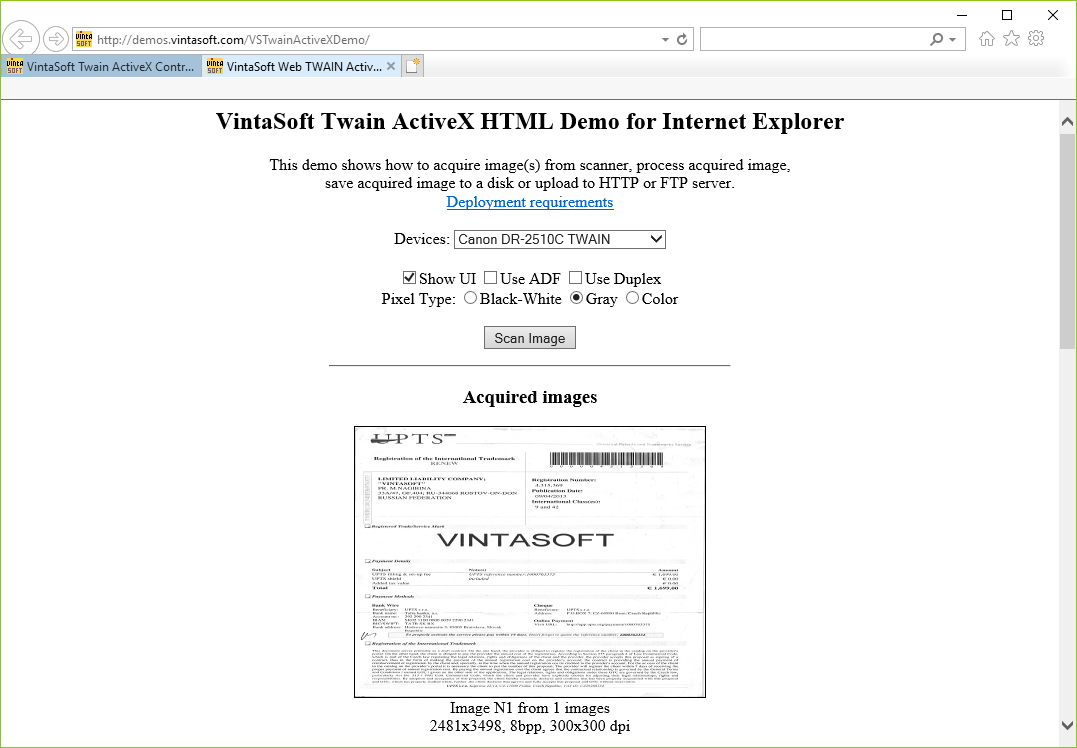VintaSoft Twain ActiveX Control | Image Acquisition Library
